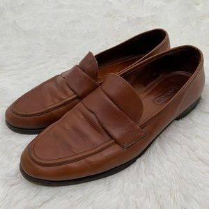 Vintage Coach Brown Leather Loafers Made in Italy